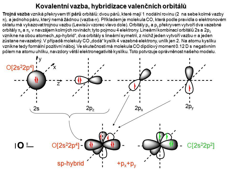 - + O C Kovalentní vazba, hybridizace valenčních orbitálů O[2s22p4]